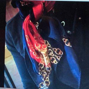 CHANEL Accessories - Chanel navy red chain pattern silk scarf